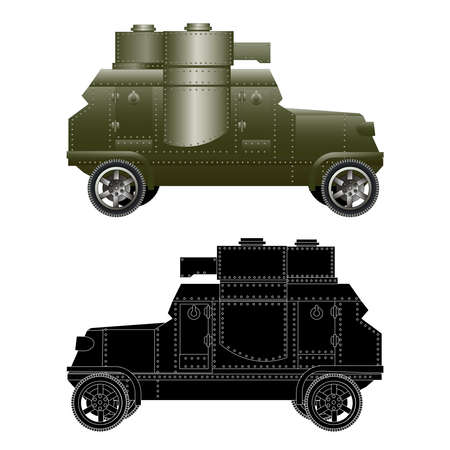 Vintage armored car vector isolated on white illustration  . Silhouette Ilustrace