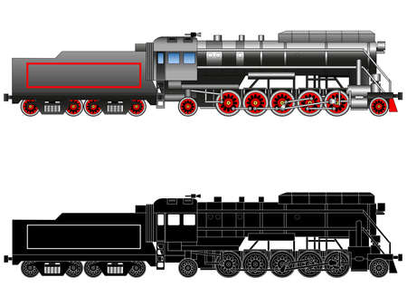 Vintage steam locomotive. Drawn ancient train, transport. Silhouette. Vector isolated on white background illustration EPS10