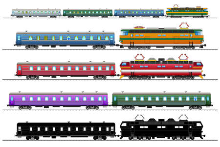 Diesel-electric locomotives and railroad tracks. Set. Vector isolated on white background illustration EPS10