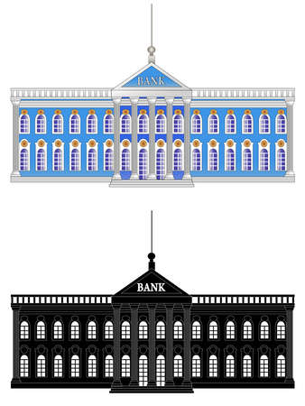 Bank Building. Flat Design Style. Silhouette. Vector isolated on white background illustration