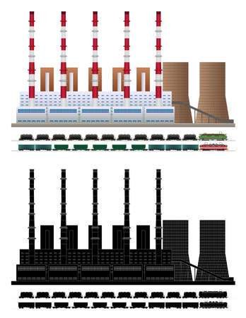 Coal fired electric power plant. Industrial factory in flat style. Silhouette. City landscape. Vector isolated on white background illustration EPS10 Vectores