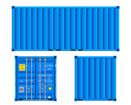 Cargo container front side and back view. Flat style. Vector isolated on white background illustration EPS10 Vectores