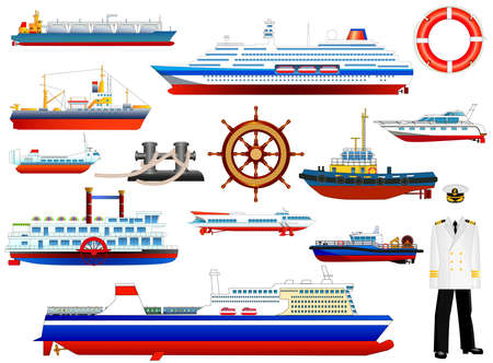 Ships at sea, shipping boats, ocean transport, cruise liner, large ferryboat, ships wheel, life buoy, harbor tug, trawler, tanker; hover craft, hydrofoil, vector icons set isolated on white background Vectores
