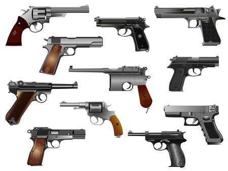 Guns: old and modern. Color vector, isolated on white background illustration. Set. Silhouette