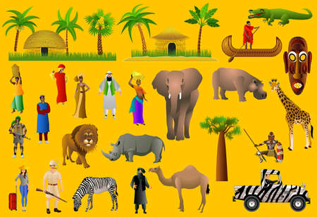 Beautiful African women in national dress, African men, hunters, African animals, traditional African huts, Collection of African trees. Set of vector isolated illustrations