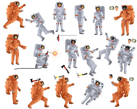 Astronauts in white and orange spacesuits work at spacewalk. People. Men and women at orbit. Welder in space. Worker with a hammer and an ax. Space equipment. Collection. Set. Color vector illustratio