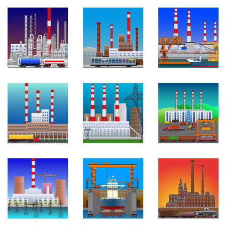 Power plant icons in flat style. Nuclear power plant and chemical plant, old factory, modern plant and shipyard. Detailed vector illustration isolated on white background