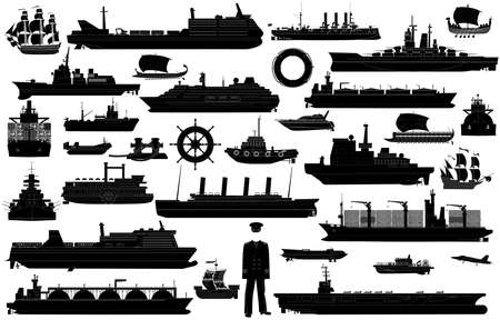 Ships at sea, shipping boats, ocean transport, cruise liner, large ferryboat, ships wheel, life buoy, harbor tug, trawler, tanker; hover craft, hydrofoil, warships vector icons set isolated on white background. Black and white silhouette isolated on white background. EPS10
