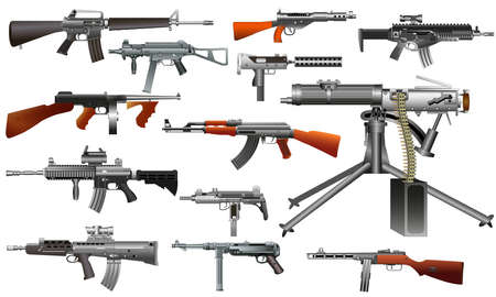 Machine guns: old and modern. Color vector isolated on white background illustration. Set