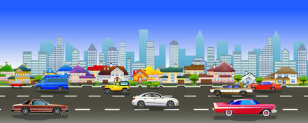 Flat vector cartoon style illustration of urban landscape road with cars, skyline city office buildings and family houses in small town village in backround. Traffic on the street