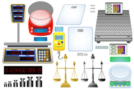 Collection of electronic and mechanical scales. Balance icons set. Gold brass balance scale. Sign of justice, lawyer. Isolated on white vector illustration Vektorové ilustrace