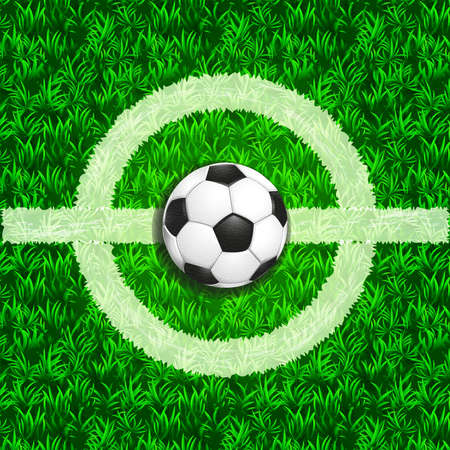 Soccer green field white center and leather ball top view background. Color vector illustration.