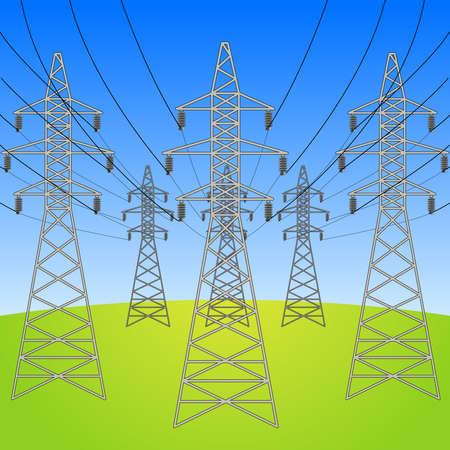 High voltage electric power lines pylons. Electricity distribution technology concept color vector illustration