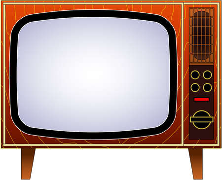 Old wooden television.Vector retro television mock up isolate on transparent background