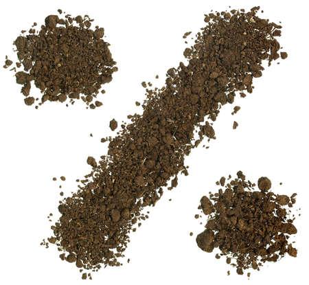 percentage sign: Creative design Percentage Sign made of soil