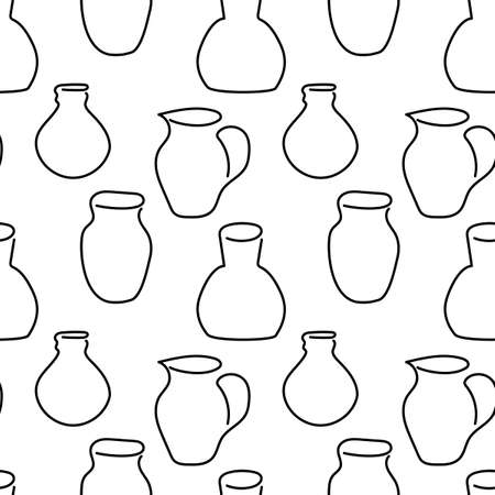 Hand drawing Jugs of different types, seamless pattern. One line style.