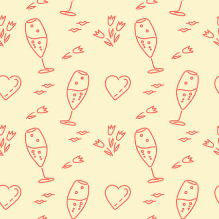 Festive theme, seamless background. Champagne glasses, hearts, flowers. Vector Pattern for fabric, wrapping paper and other surfaces.