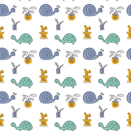 Seamless vector pattern with hand drawn cute turtles, snails and potted flowers.