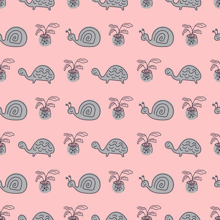 Seamless vector pattern with hand drawn cute turtles, snails and potted flowers Иллюстрация