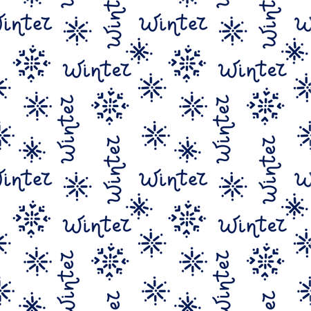 Seamless pattern with hand drawn winter text and snowflakes on white background. Vector background