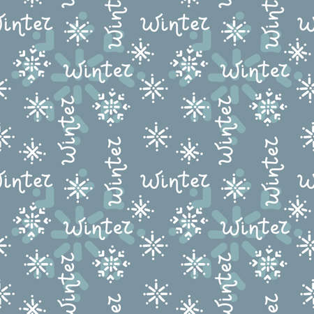 Seamless background with hand drawn snowflakes and Winter lettering on blue background. Vector background