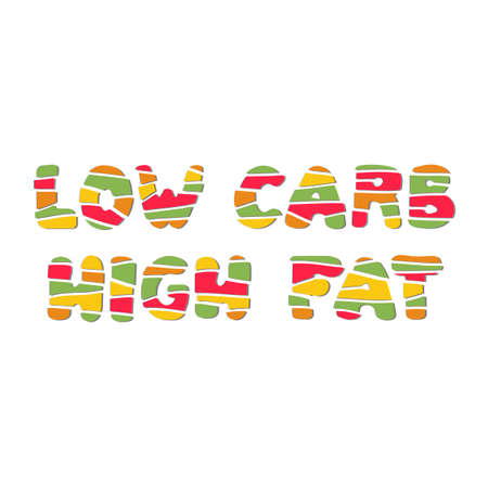 Low carb high fat. Vector hand lettering on white background