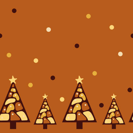 Seamless border. Chocolate Christmas trees. Different kinds of chocolate. Design of tablecloth, wrapping paper for cafes, restaurants, parties