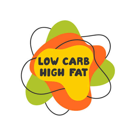 Low carb high fat .Vector hand lettering on white background.
