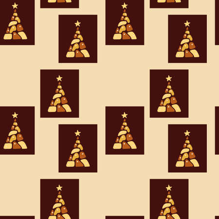 Seamless pattern. Chocolate Christmas trees. Different kinds of chocolate. Design of tablecloth, wrapping paper for cafes, restaurants, parties Illusztráció