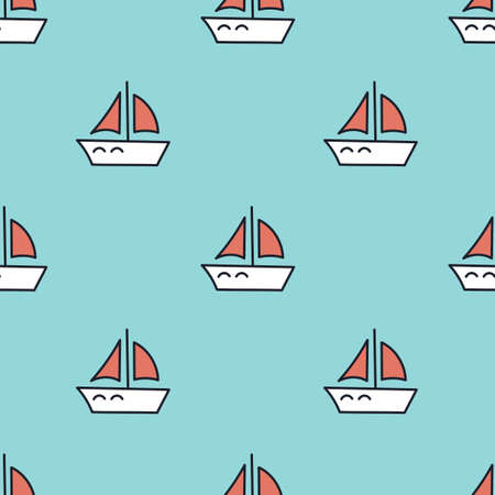 Seamless background with sailing ships, red sails . Hand-drawn illustration on a blue background for childrens textiles and other surfaces