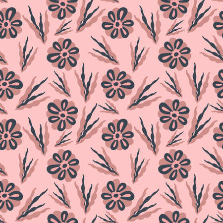 Seamless flower pattern. Flat botanical ornament with minimalistic elements. Simple vector . For Fabric, Wallpaper, other surfaces Çizim