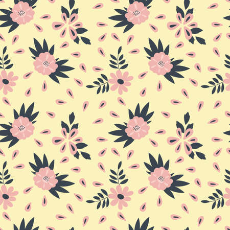Seamless pattern. Simple flat floral motif . Suitable for fabrics, Wallpapers, album covers, phone cases. Vector illustration