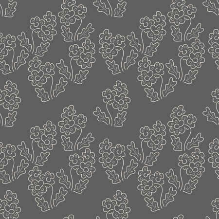 Floral seamless pattern. Vector textures. Simple delicate flowers on a dark background. Print flower color. Two-color pattern in a small flower. Иллюстрация