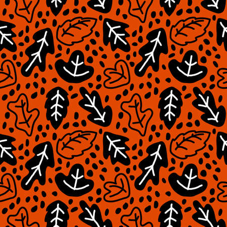 Seamless hand drawn background with simple black leaves on orange background. For fabric, Wallpaper, packaging design and other surfaces.