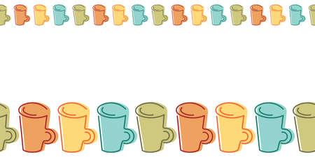 Seamless border with hand drawn colorful mugs . Suitable for tablecloth, cloth, fabric, wrapping paper, cafe, surfaces.