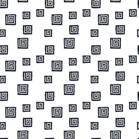 Square spiral, snail pattern. Hand drawn seamless vector background. Black and white