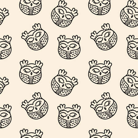 Simple seamless vector pattern. Cute hand drawn owls .Can be used as a fabric, wrapping paper, backdrop, wallpaper, bag template, print