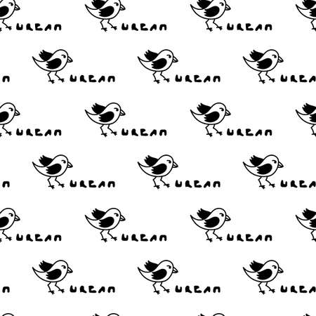 Urban birds. Hand lettering. Seamless pattern.Flat cartoon character design.