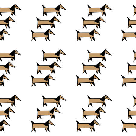 Seamless background, cute dogs . For fabric, covers and other surfaces. 일러스트