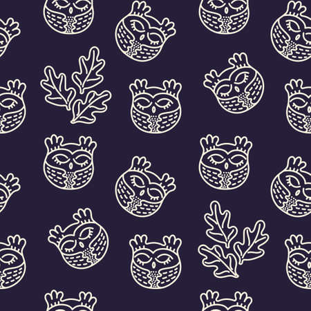 Cute hand drawn owls and leaves. Simple seamless vector pattern. For fabric, wrapping paper, backdrop, wallpaper, bag template, print