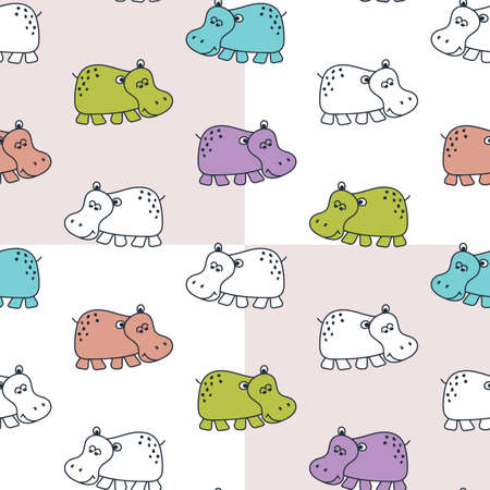 Seamless baby patterns with funny hippos in bright colors. Vector illustration in Scandinavian style.
