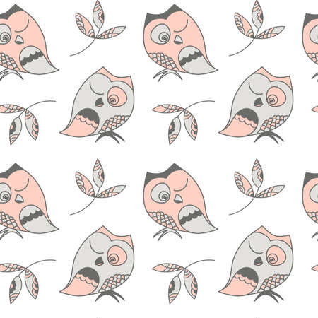 Cute squinting Owl . Seamless pattern , hand drawing with Doodle and zentangle elements.