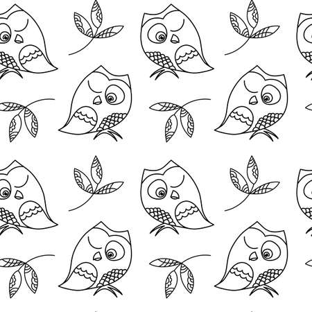 Cute squinting Owl . Seamless pattern , hand drawing with Doodle and zentangle elements. Graphics