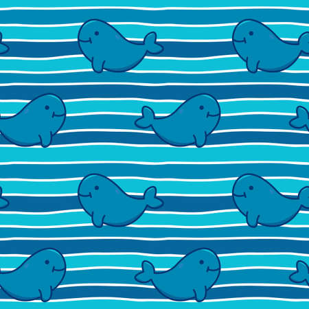 Vector seamless background with cute whales on striped background . Shade of blue. Design for fabric, textile, decor. Иллюстрация