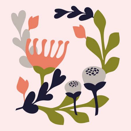 Botanical illustration in Scandinavian style, wall art, poster. Dark blue, light grey, peach pink