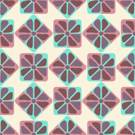 Seamless pattern, Flower abstract shapes in square with rounded corners.  イラスト・ベクター素材