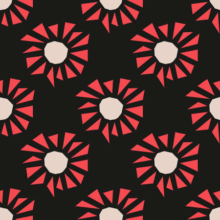 Bright flowers on a black background of red triangles, seamless pattern for fabric and other surfaces