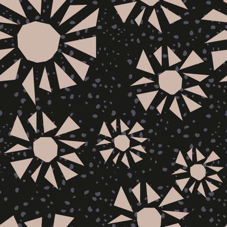 Abstract shapes of triangles and circles on a black background. Night sky, flowers, seamless pattern