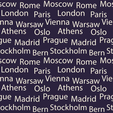 Seamless vector background with names of European cities . White font on dark background