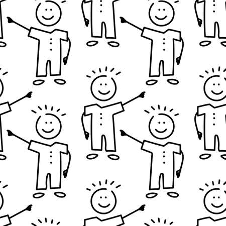Seamless pattern, childrens pattern. and drawn Funny boys. Suitable for fabric, paper and other surface